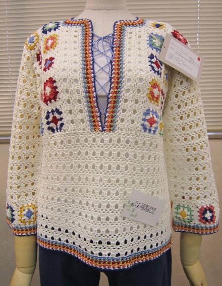 パピー 40311108-02 モチーフとレースのセーター