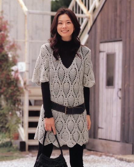 ニッケ パイナップル模様のロングセーター